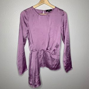 Missguided Asymmetrical purple long sleeve blouse